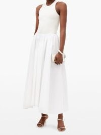 JIL SANDER Nastya linen-blend midi skirt in white ~ gathered waist skirts ~ uneven hemlines