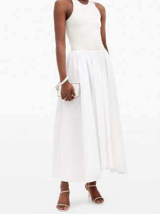 JIL SANDER Nastya linen-blend midi skirt in white ~ gathered waist skirts ~ uneven hemlines - flipped