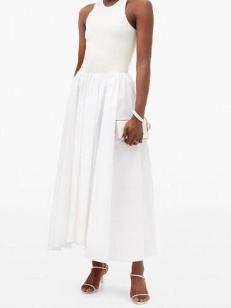JIL SANDER Nastya linen-blend midi skirt in white ~ gathered waist skirts ~ uneven hemlines