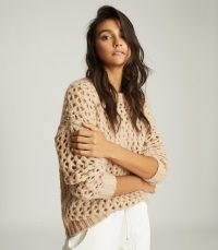 REISS NATALIE OPEN-KNIT OVERSIZED JUMPER NEUTRAL / luxe look crew neck jumpers