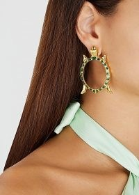 NATIA X LAKO Gold-plated tortoise drop earrings / reptile shaped jewellery