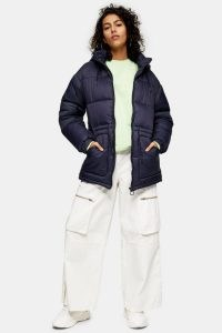 TOPSHOP Navy Tie Padded Puffer Jacket ~ dark blue winter jackets