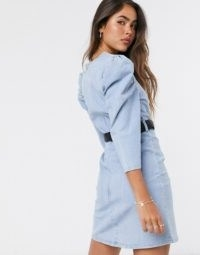 Neon Rose structured mini dress with volume sleeves and embellished belt in denim | casual puff sleeve dresses