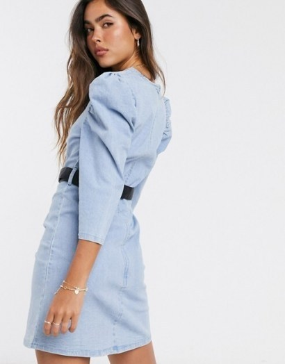 Neon Rose structured mini dress with volume sleeves and embellished belt in denim   casual puff sleeve dresses - flipped