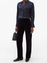 OFFICINE GÉNÉRALE New Celeste cotton-velvet straight-leg trousers in navy
