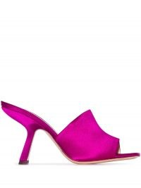 Nicholas Kirkwood Alba 90mm mules in pink ~ curved heel ~ angled mid heels ~ glamorous and bright slip on sandals