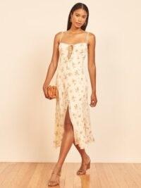 REFORMATION Nixie Dress / floral skinny strap dresses / front tie details / split hem