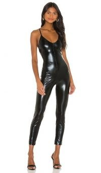 Norma Kamali Low Back Fara Slip Catsuit Black Foil / shiny fitted jumpsuits / strappy back catsuits / high shine bodycon fashion / faux stretch leather