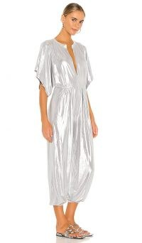 Norma Kamali Rectangle Jog Jumpsuit Silver / shimmering jumpsuits / metallic fashion