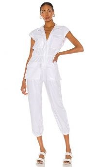 Norma Kamali Sleeveless Cargo Jumpsuit White Foil / high shine crop leg jumpsuits
