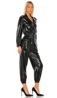 Norma Kamali Turtle Cargo Jumpsuit Black Foil / shiny jumpsuits / faux leather fashion