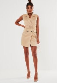 MISSGUIDED nude sleeveless belted blazer dress ~ going out jacket dresses ~ party fashion