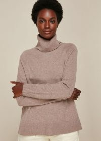 WHISTLES CASHMERE ROLL NECK KNIT OATMEAL / neutral high neck knits / jumpers / soft luxe knitwear