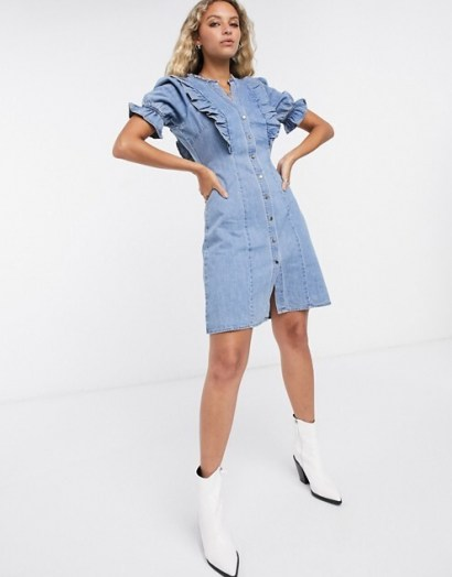 Object denim mini dress with button front and frill detail in light blue | casual ruffle trimmed dresses | weekend style