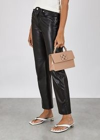 OFF-WHITE Jitney 1.4 patent leather top handle bag / small glossy hangbag / luxe top handle bags
