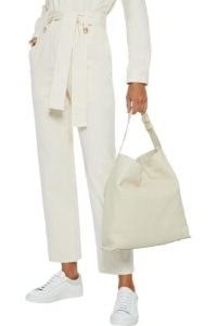 IRIS & INK Jiyoun pebbled-leather shoulder bag in off white ~ textured leather handbag