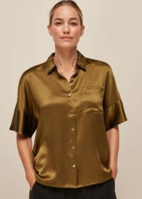 Whistles RELAXED SILK SATIN SHIRT in OLIVE – wardrobe essentials – silky shirts