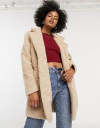 Only longline button front coat in beige / borg coats / teddy texture / winter outerwear