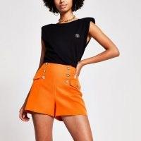 RIVER ISLAND Orange button detail structured short / bright vintage style shorts