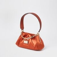 River Island Orange – Dark 3068 Rouched Satin Uarm bag | ruched handbags | chunky chain detail