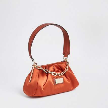 River Island Orange – Dark 3068 Rouched Satin Uarm bag | ruched handbags | chunky chain detail - flipped