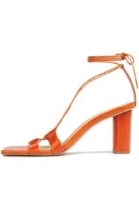IRIS & INK Jacinta lace-up leather sandals in orange ~ strappy ankle tie sandal