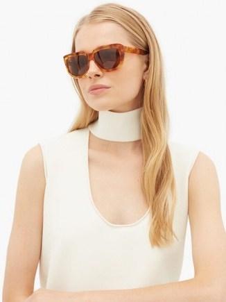 CELINE EYEWEAR Oversized D-frame acetate sunglasses   large chic sunnies   glossy brown tortoiseshell effect rims - flipped