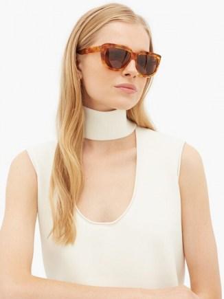 CELINE EYEWEAR Oversized D-frame acetate sunglasses   large chic sunnies   glossy brown tortoiseshell effect rims