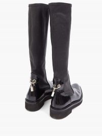 CHRISTOPHER KANE Padlock neoprene and leather knee-high boots / autumn footwear / winter fashion