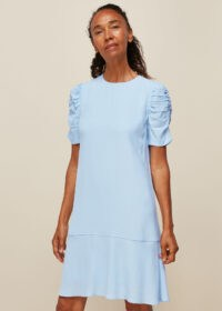 WHISTLES GEORGINA ZIP DRESS PALE BLUE / short ruched sleeves / shift style dresses