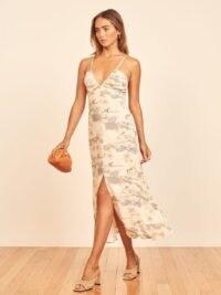 Reformation Palms Dress Long Beach | strappy front split dresses