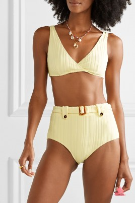 Hilary Rhoda yellow bikini top on Instagram stories, SOLID & STRIPED The Annie ribbed bikini top, 10 August 2020 | celebrity swimwear | bikinis | beachwear
