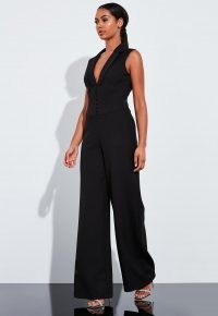 Missguided peace + love black corset wide leg jumpsuit | sleeveless fitted waist jumpsuits | going out evening fashion