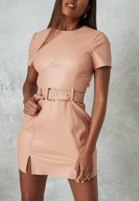 MISSGUIDED peach faux leather bust detail belted dress ~ fitted going out dresses
