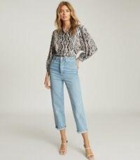 REISS PENNY SWIRL-PRINT BLOUSE BLUE PRINT / vintage look prints / printed blouses