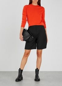 PEOPLE'S REPUBLIC OF CASHMERE Orange cashmere jumper / bright crew neck jumpers