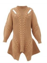 ALEXANDER MCQUEEN Peplum-hem wool-blend sweater dress in camel / brown chunky jumper dresses / designer knitwear