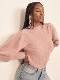 Reformation Perche Ribbed Sweater in Serenade | pink puff sleeve sweaters | rib knit jumpers