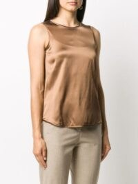 Peserico ball-chain detail blouse in honey brown / chain embellished neckline tops