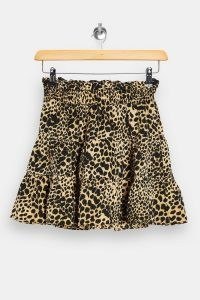TOPSHOP PETITE Camel Shirred Animal Print Mini Skirt / printed gathered skirts