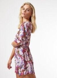 MISS SELFRIDGE PETITE Frill Sleeve Pink Floral Mini Tea Dress – petites – tiered sleeves