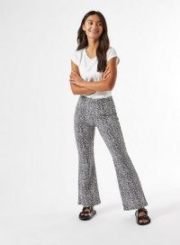 MISS SELFRIDGE PETITE Ivory Printed Kick Flare Trouser / spot print flares / flared trousers / splodge prints