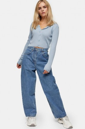 Topshop PETITE Mid Stone Baggy Jeans | 80s look denim - flipped