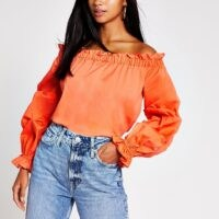 RIVER ISLAND Petite orange ruched long sleeve bardot top / gathered off the shoulder tops