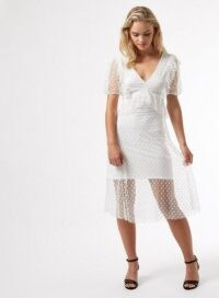 MISS SELFRIDGE PETITE White Mesh Ruffle Midi Dress – petites – sheer overlay occasion wear