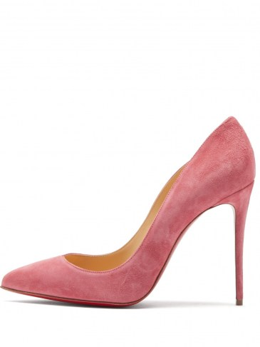 CHRISTIAN LOUBOUTIN Pigalle Follies 100 pink suede pumps ~ high stiletto heels ~ luxe court shoes ~ signature red sole courts - flipped