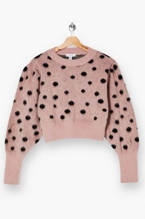 Topshop Pink And Black Spot Knitted Jumper | crew neck dot patterned jumpers - flipped