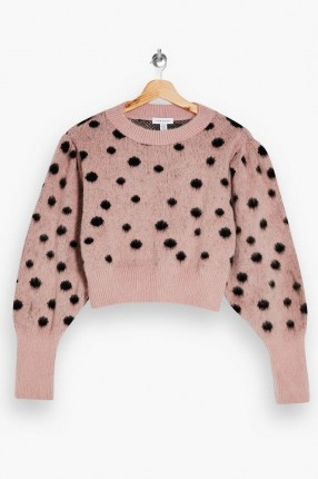 Topshop Pink And Black Spot Knitted Jumper | crew neck dot patterned jumpers