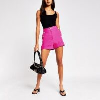 RIVER ISLAND Pink button front short ~ bright high waist shorts