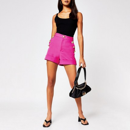 RIVER ISLAND Pink button front short ~ bright high waist shorts - flipped